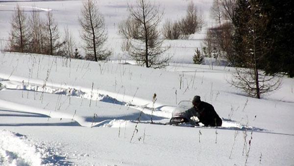Работы по вытаскиванию «закопанного» снегохода