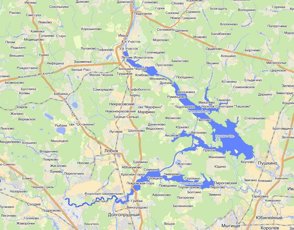 Водохранилища (Клязьминское, Пяловское, Пестовское, Икшинское)
