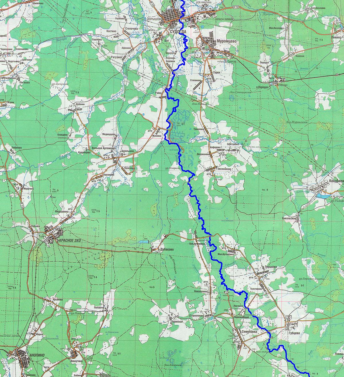 Река Судогда от города Судогда до устья