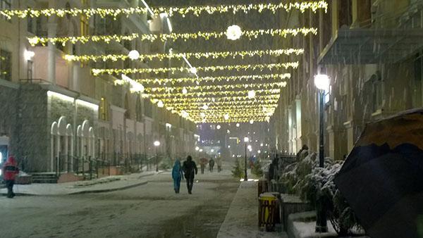 Снегопад на улице Горная Карусель