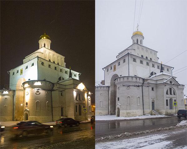 Золотые ворота при ночном и дневном освещении